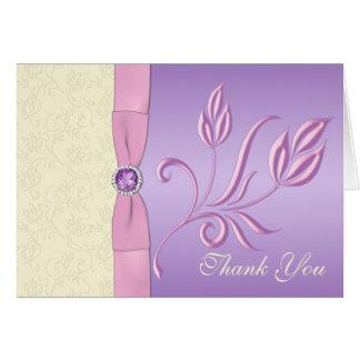 Lavande, rose, et carte de remerciements en ivoire