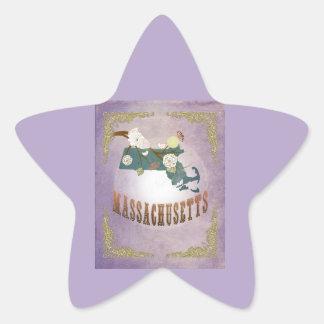 Lavande vintage de bonbon à carte d'état du autocollants en étoile