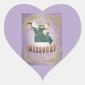 Lavande vintage moderne de bonbon à carte d'état sticker cœur