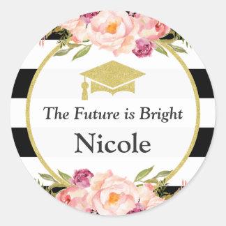 L'avenir est faveur | florale lumineuse de diplômé sticker rond