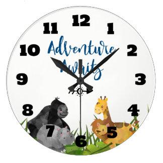 L'aventure animale d'illustration de jungle de grande horloge ronde
