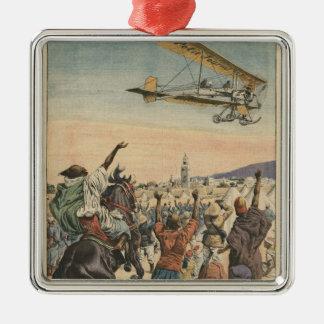 """L'avion de """"petit journal"""" volant plus de ornement carré argenté"""