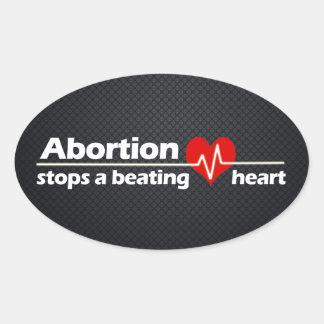 L'avortement arrête un coeur battant, contre sticker ovale