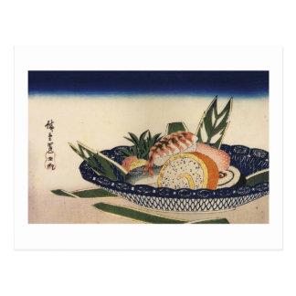 le 江戸前寿司, sushi de 広重 roulent, Hiroshige, Ukiyoe Carte Postale