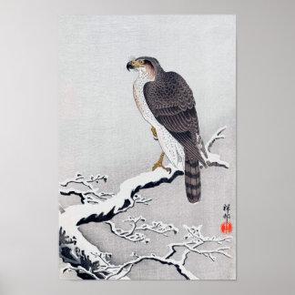 le 雪に鷹, faucon de 古邨 sur la neige a couvert la poster
