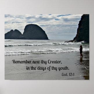 Le 12:1 d'Ecclesiastes se rappellent maintenant Poster