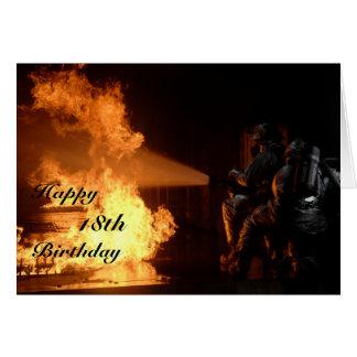 Le 18ème anniversaire du sapeur-pompier cartes de vœux