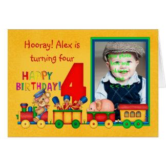 le 4ème carte photo d'anniversaire avec le train