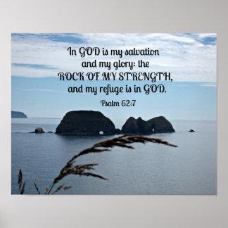 Le 62:7 de psaume dans Dieu est mon salut Poster