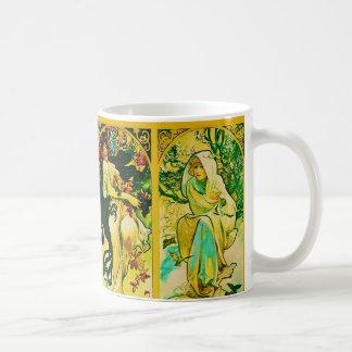 Le ~ Alphonse Mucha de quatre saisons Mug Blanc