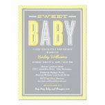 Le baby shower | chic saisissent le jaune et le cartons d'invitation