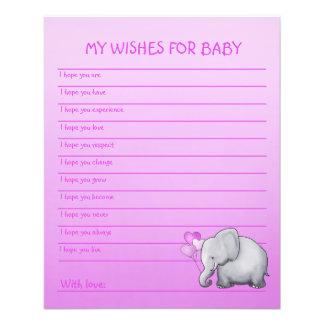 Le baby shower de fille d'éléphant rose souhaite prospectus 11,4 cm x 14,2 cm