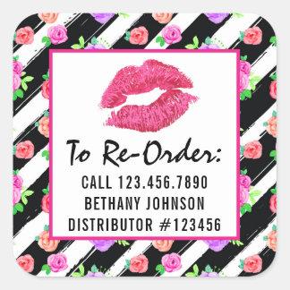 Le baiser de rose de charme de distributeur de sticker carré