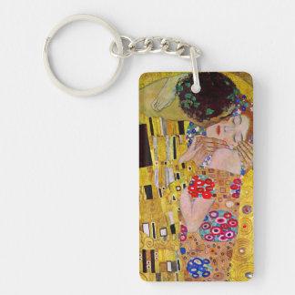 Le baiser par Gustav Klimt, art vintage Nouveau Porte-clé Rectangulaire En Acrylique Double Face