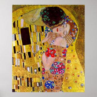 Le baiser par Gustav Klimt, art vintage Nouveau Posters