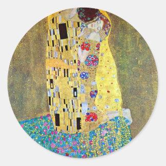 Le baiser par Gustav Klimt, art vintage Nouveau Sticker Rond