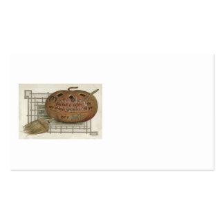Le balai de sorcière de citrouille de lanterne de carte de visite standard