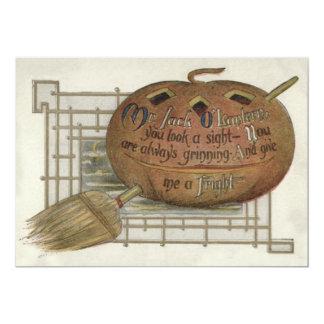 Le balai de sorcière de citrouille de lanterne de carton d'invitation  12,7 cm x 17,78 cm