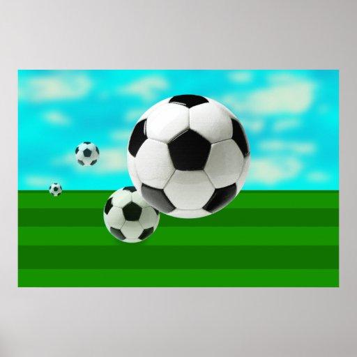 Le ballon de football de boules de rebondissement  posters