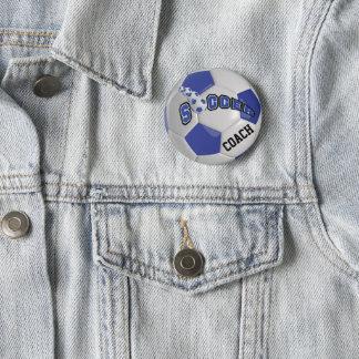 Le ballon de football folâtre   bleu-foncé badges