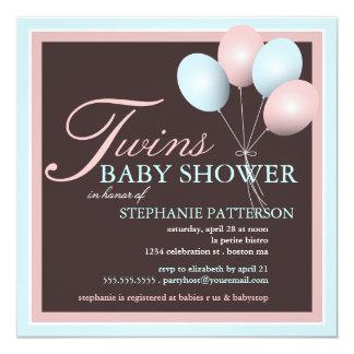 Le ballon élégant de bébé jumelle l'invitation de carton d'invitation  13,33 cm
