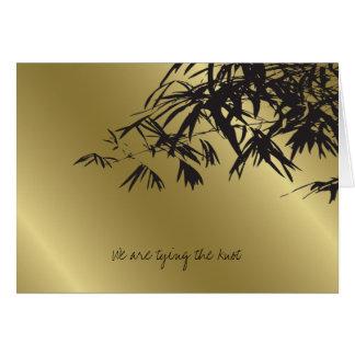 Le bambou part de la carte noire de faire-part de
