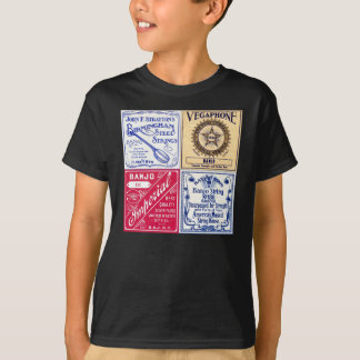 Le banjo ficelle le T-shirt court foncé de la