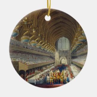 Le banquet royal, premier cours, d'un album cel ornement rond en céramique