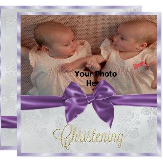 Le baptême de la fille de jumeau de photo d'arc de carton d'invitation  13,33 cm