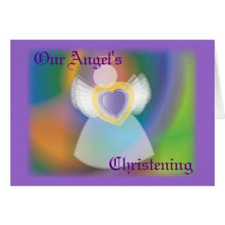 Le baptême de notre ange pour la Garçon-Personnali Carte De Vœux