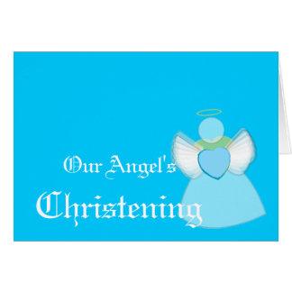 Le baptême de notre ange pour la Garçon-Personnali Cartes De Vœux