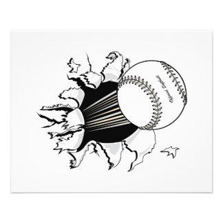 le base-ball déchirant par le graphique de boule r prospectus 11,4 cm x 14,2 cm