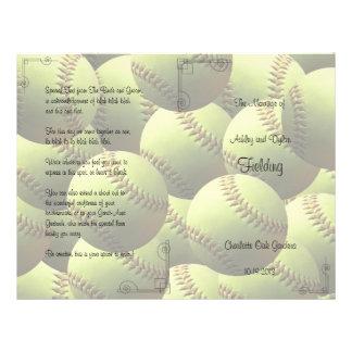 Le base-ball folâtre le programme de mariage de prospectus 21,6 cm x 24,94 cm