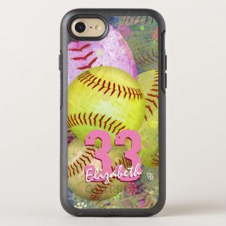 Le base-ball lumineux rose de femmes jaunes coque otterbox symmetry pour iPhone 7