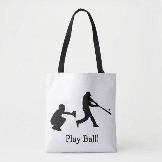Le base-ball noir et blanc de boule de jeu folâtre tote bag