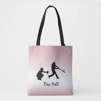 Le base-ball rose Girly de boule de jeu folâtre le Tote Bag