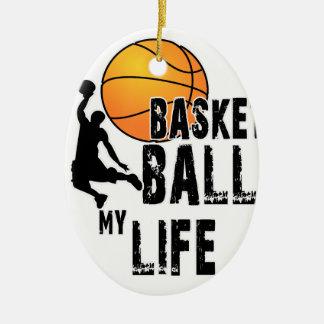 Le basket-ball est ma vie ornement ovale en céramique