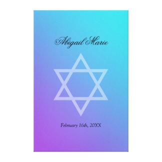 Le bat mitzvah pourpre turquoise d'étoile de David Toiles Tendues Sur Châssis