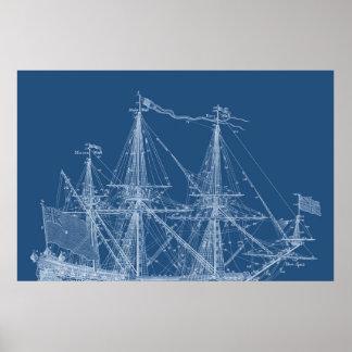 Le bateau à voile grand de modèle de bateau de posters