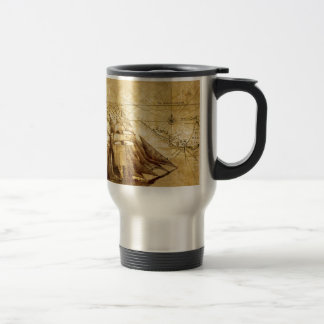 Le bateau de carte du monde le plus ancien mug de voyage en acier inoxydable