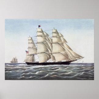 """Le bateau de tondeuse """"nuage de vol """" affiche"""