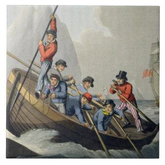 Le bateau d'un bateau attaquant une baleine, grand carreau carré
