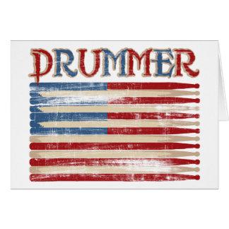 Le batteur affligé de drapeau des Etats-Unis de Carte De Vœux