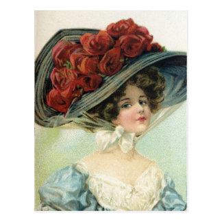 Le beau cru a peint la dame, roses de soie de carte postale