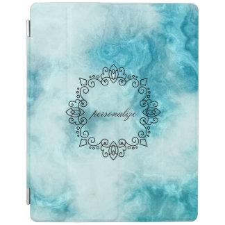le beau motif de marbre bleu de texture protection iPad