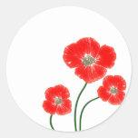 Le beau pavot rouge lumineux fleurit l'image autocollants ronds