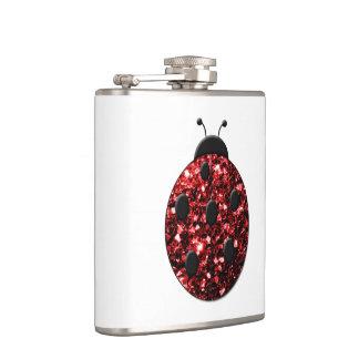 Le beau rouge de scintillement miroite coccinelle flasques