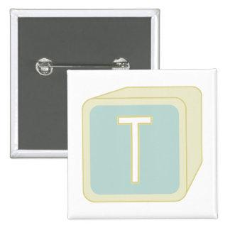 Le bébé bloque des initiales graphiques en bois badge carré 5 cm