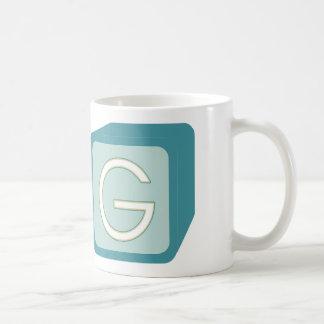 Le bébé bloque des initiales graphiques en bois mug blanc