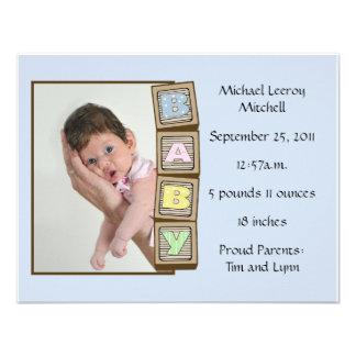 Le bébé bloque la naissance - bleu invitation personnalisée
